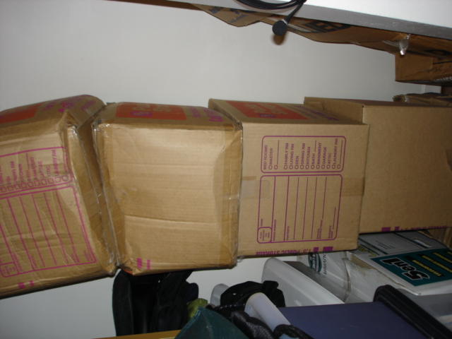 A mere four unpacked boxes (shown sideways)