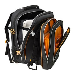 backpack-on-wheels compartments opened