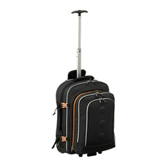 backpack-on-wheels single pole handle extended
